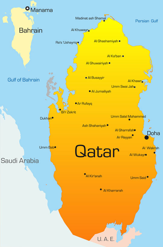 Map of Qatar - Country map State of Qatar | Hotels-Doha.com Qatar On A Map on